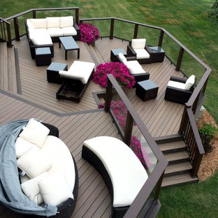 Inspiration for an expansive traditional backyard deck in Other.