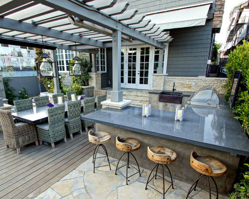 Outdoor Kitchen Deck   Contemporary Backyard Outdoor Kitchen Deck Idea In  Los Angeles With A Pergola
