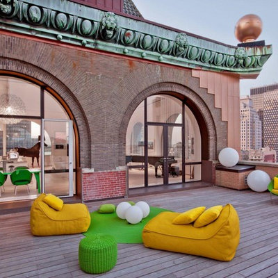 Large trendy rooftop rooftop deck photo in New York with no cover