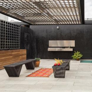 Ispirazione per una terrazza industriale sul tetto con un giardino in vaso