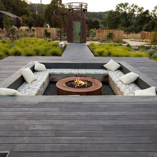 Deck - farmhouse backyard deck idea in San Francisco with a fire pit