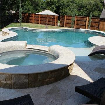 southlake travertine pavers  pool  remodeling
