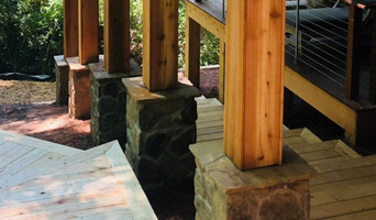 Specialty rocked wrapped post and timber steps