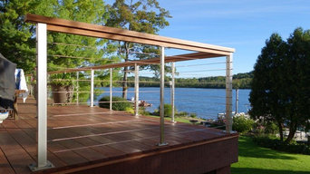 "Stainless Railing_ 42""_Deck Mount_Wood Top Rail"