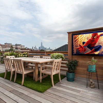 Mid-sized minimalist rooftop outdoor kitchen deck photo in New York with no cover