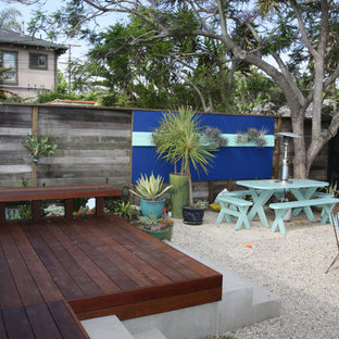 Small trendy backyard deck photo in Los Angeles with no cover