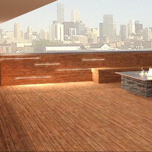 Idéer för att renovera en stor funkis takterrass, med en öppen spis