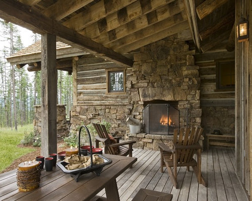 Rustic Outdoor Fireplace Houzz