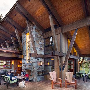 Deck - large rustic deck idea in Sacramento