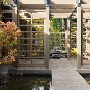Idee per una terrazza etnica di medie dimensioni e dietro casa con fontane e una pergola