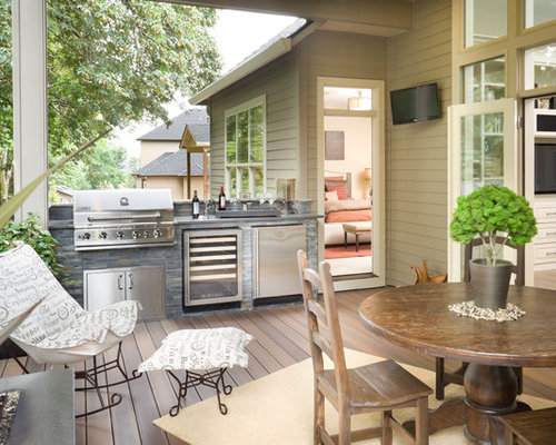 Example Of A Mid Sized Classic Backyard Deck Design In Vancouver With A  Fire Pit