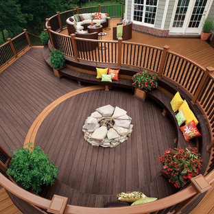 Transitional Backyard Deck Photo In Other With A Fire Pit And No Cover