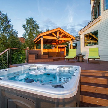 Treeline Deck w/Hot Tub, Cable Railing, In-laid Lighting, Built-In Benches