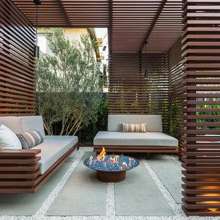 Foto di piccoli terrazze e balconi minimal dietro casa con un focolare e una pergola