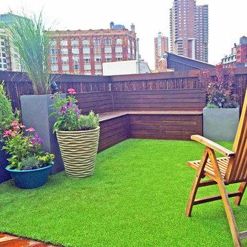 TriBeCa Rooftop Garden - Bamboo Fence, Artificial Turf, Cedar Bench, Planters