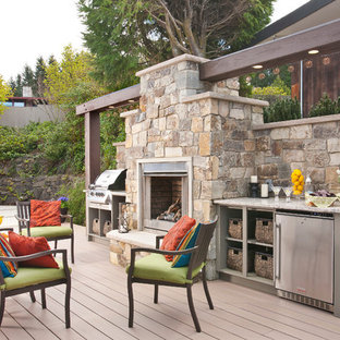 Design ideas for a classic terrace and balcony in Seattle with a fire feature and no cover.