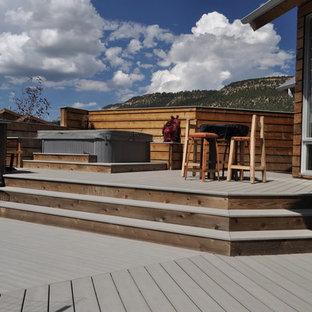 Foto di una grande terrazza design dietro casa con fontane e nessuna copertura