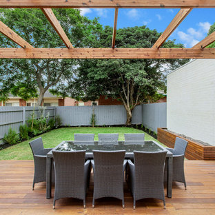 Design ideas for a contemporary backyard deck in Melbourne with a container garden and a pergola.