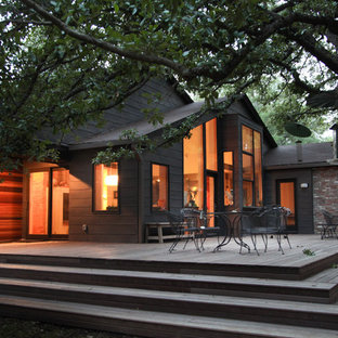 This is an example of a large industrial backyard deck in Dallas with no cover.