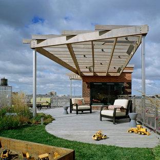 Cette photo montre un toit terrasse tendance avec une pergola.