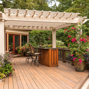 Deck container garden - mid-sized contemporary backyard deck container garden idea in New York with a pergola