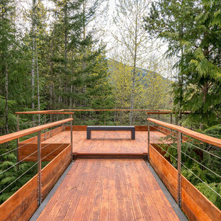 Example of a mountain style deck design in Other with no cover