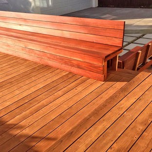 Wood deck with Wood benches & Paver patio