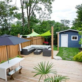 Idée de décoration pour une terrasse craftsman.