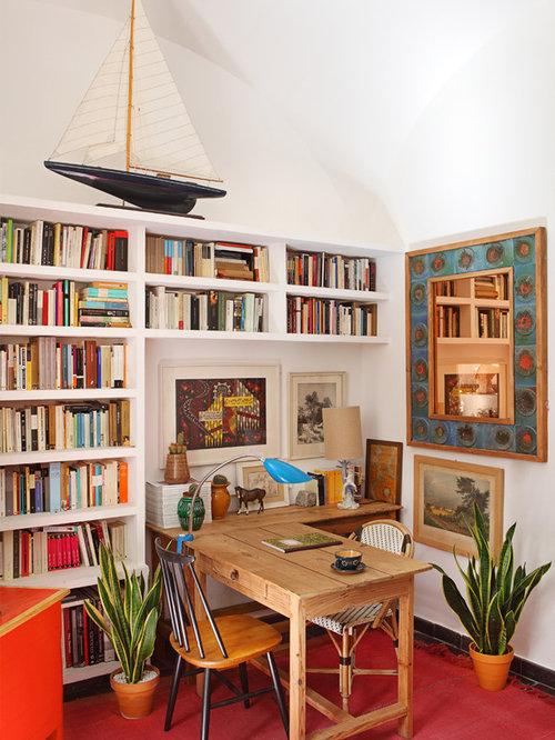 Kleine mediterrane arbeitszimmer ideen design bilder - Wandfarbe arbeitszimmer ...