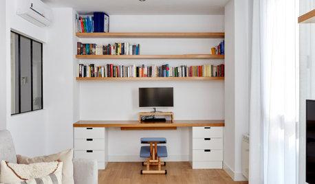 明るい色使いがポイント。ホームオフィスがあるスペインのリノベーション