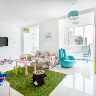 Example of a large trendy girl kids' room design in Other with white walls