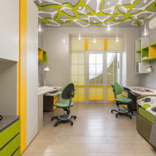 Выдающиеся фото от архитекторов и дизайнеров интерьера: детская в современном стиле с рабочим местом и серыми стенами для ребенка от 4 до 10 лет, мальчика