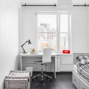 Inspiration för ett nordiskt könsneutralt tonårsrum, med vita väggar och svart golv