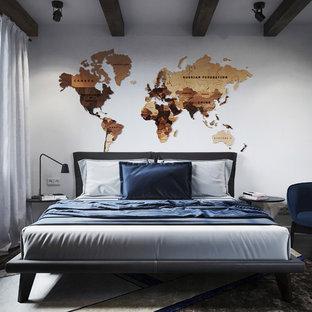Aménagement d'une chambre d'enfant contemporaine de taille moyenne avec un mur blanc, un sol en bois foncé et un sol marron.