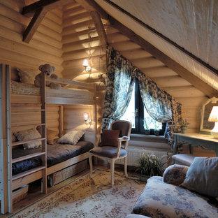 Стильный дизайн: детская в стиле кантри с спальным местом и бежевыми стенами - последний тренд