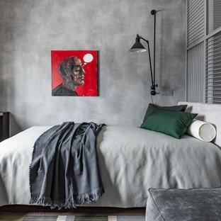 Стильный дизайн: маленькая детская в современном стиле с спальным местом, полом из винила, бежевым полом и серыми стенами для подростка, мальчика - последний тренд
