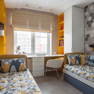 Пример оригинального дизайна: детская среднего размера в современном стиле с спальным местом, серыми стенами и серым полом для ребенка от 4 до 10 лет, мальчика