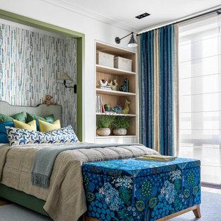 Пример оригинального дизайна: нейтральная детская среднего размера в современном стиле с спальным местом, белыми стенами, паркетным полом среднего тона и коричневым полом для подростка