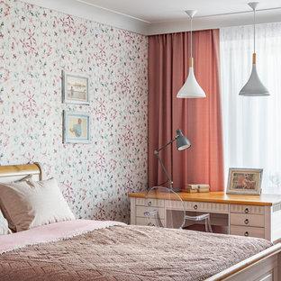 Свежая идея для дизайна: маленькая детская в скандинавском стиле с разноцветными стенами для подростка, девочки - отличное фото интерьера