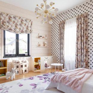 Идея дизайна: детская с игровой в современном стиле с белыми стенами для девочки