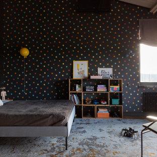 Идея дизайна: детская в современном стиле с черными стенами, балками на потолке и деревянными стенами для ребенка от 4 до 10 лет, мальчика