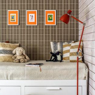 Foto di una cameretta per bambini design di medie dimensioni con pareti marroni, pavimento in laminato e pavimento grigio
