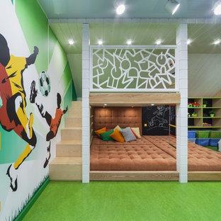 Inspiration för moderna pojkrum, med linoleumgolv och grönt golv