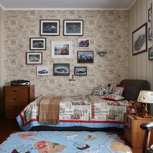 На фото: детская в классическом стиле с спальным местом, бежевыми стенами, темным паркетным полом и коричневым полом с