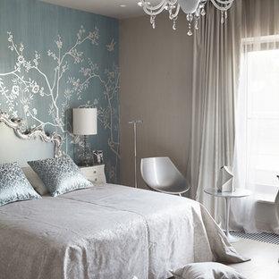 Пример оригинального дизайна: детская в современном стиле с спальным местом, синими стенами, светлым паркетным полом и бежевым полом для подростка, девочки
