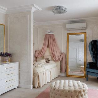 На фото: большая детская в стиле современная классика с спальным местом, бежевыми стенами, светлым паркетным полом и бежевым полом для девочки с