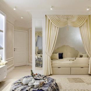На фото: большая детская в стиле современная классика с спальным местом, бежевыми стенами, светлым паркетным полом и бежевым полом для девочки