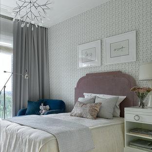 Создайте стильный интерьер: детская среднего размера в стиле современная классика с спальным местом, серыми стенами, светлым паркетным полом и бежевым полом для подростка, девочки - последний тренд