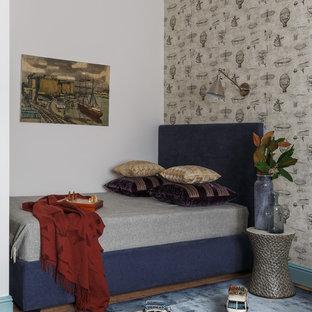 Klassisches Kinderzimmer mit Schlafplatz und grauer Wandfarbe in Moskau