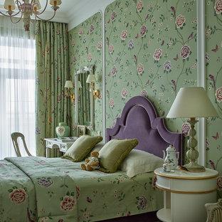 На фото: детская среднего размера в классическом стиле с спальным местом и разноцветными стенами для девочки, ребенка от 4 до 10 лет с